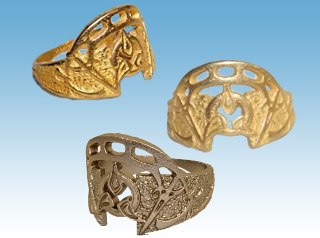 Dahar Master Ring in Polished Gold Steel: 9 / 59