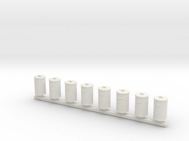 Metal Trash Cans 8 Pack HO Scale Detail in White Natural Versatile Plastic