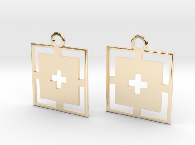square cross earrings in 14k Gold Plated Brass