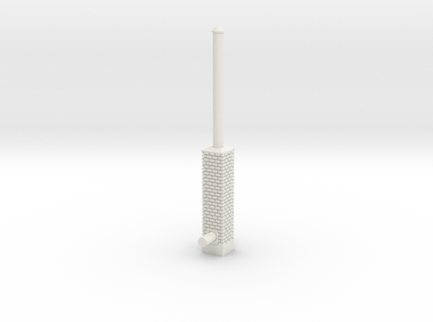 Building Side Brick Exhaust Stack HO Scale in White Natural Versatile Plastic