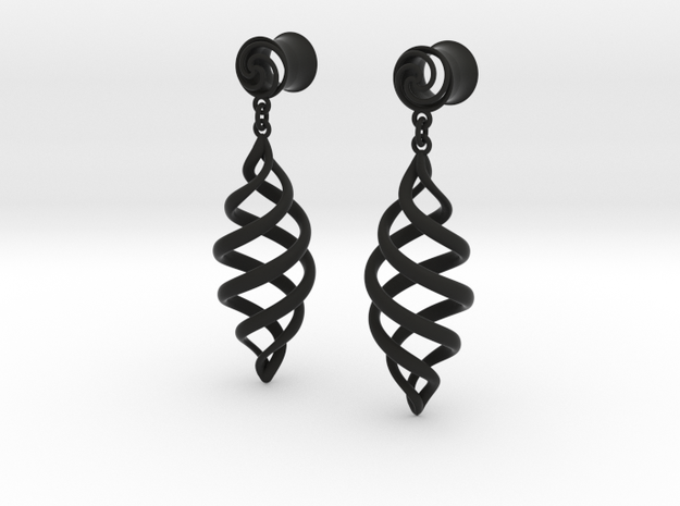 Archemedes Spiral plugs With Drop 00g in Black Natural Versatile Plastic
