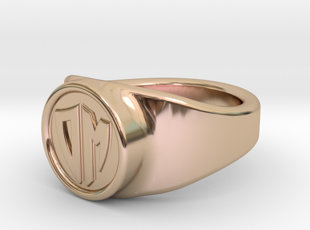 Customizable signet ring in 14k Rose Gold Plated Brass