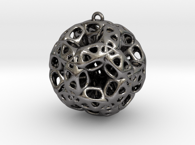 Chrismas ball in Polished Nickel Steel