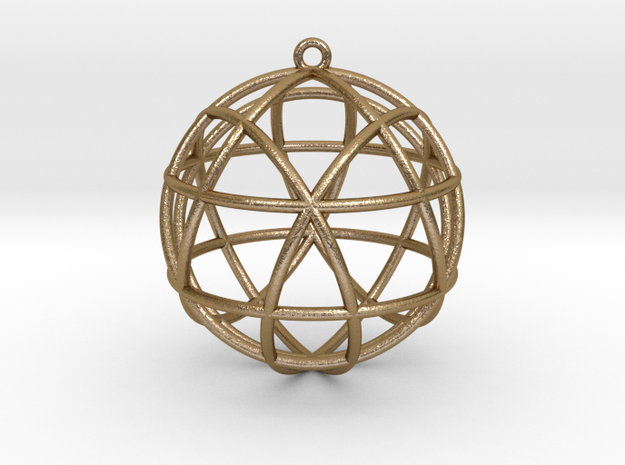 "Star Tetrasphere Pendant 1.7""  in Polished Gold Steel"