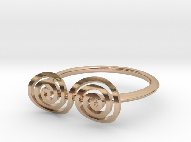 """Celtic """"life and death"""" turned spiral ring in 14k Rose Gold Plated Brass"""