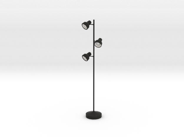 'Office Days' Triple Floor Lamp 1:12 Dollhouse in Black Natural Versatile Plastic