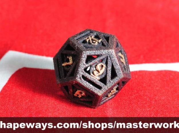 Deathly Hallows d12 3d printed Plastic with Copper & Gold Rub'n'Buff