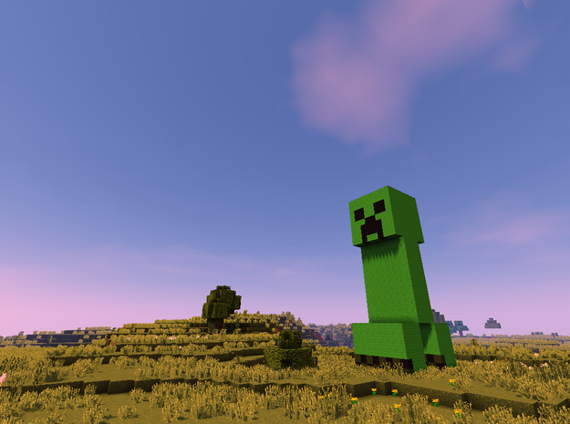 MineCraft Creeper in White Strong & Flexible: Large