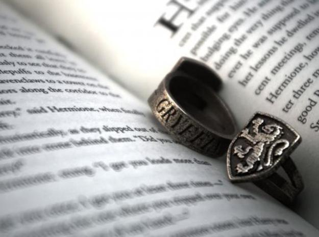 Gryffindor Ring Size 5 in Polished Bronzed Silver Steel