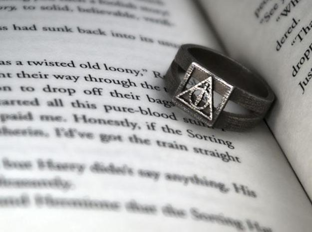 Deathly Hallows Ring Size 8 in Polished Bronzed Silver Steel