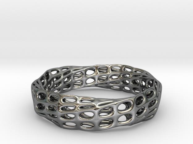 Mobius Band Voronoi Bracelet 65mm (003) in Premium Silver