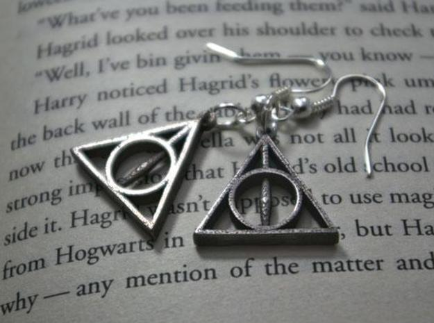 Deathly Hallows Earrings in Polished Bronzed Silver Steel