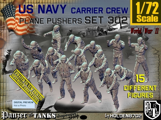 1/72 USN Carrier Deck Pushers Set302 in Smooth Fine Detail Plastic