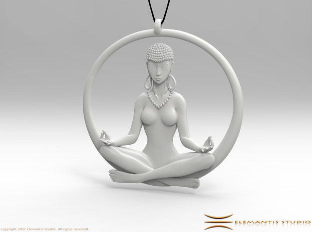 Sukhasana Yogini Pendant 5.5cm in White Premium Strong & Flexible