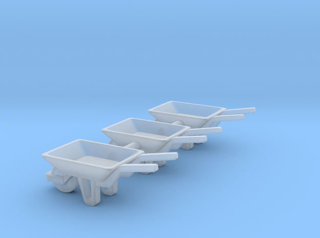 WheelBarrow 3 Pack N Scale in Smooth Fine Detail Plastic
