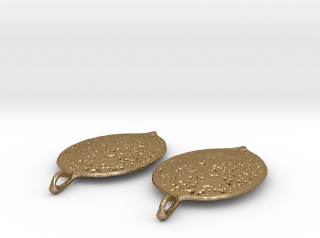 Leaf Earring Pair in Polished Gold Steel