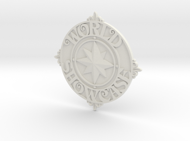 World Showcase medallion at EPCOT in White Strong & Flexible