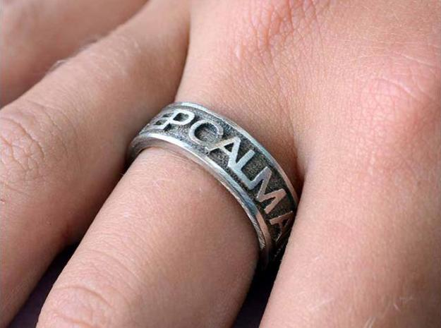 "Size 8 Steel Ring ""KEEP CALM & CARRY ON"" in Polished Bronzed Silver Steel"