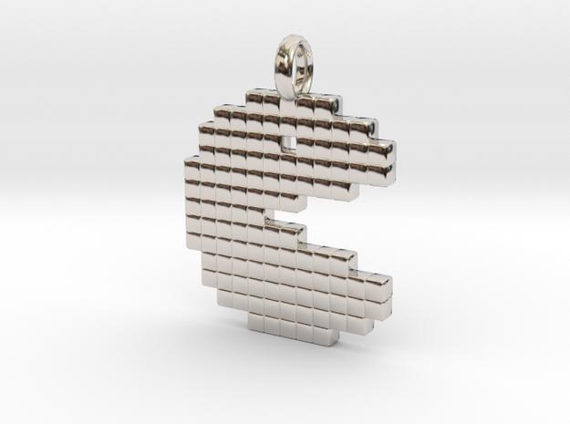 Pacman [pendant] in Rhodium Plated