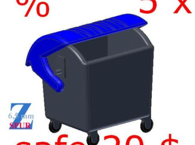 5x Abfallcontainer 1100L (1/220) # in Smooth Fine Detail Plastic