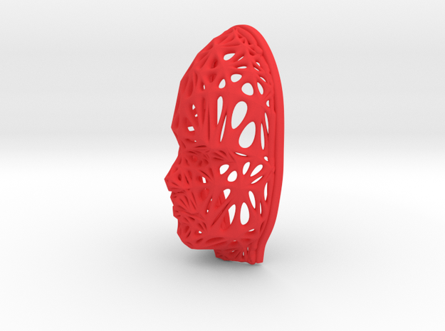Female Voronoi Face (002) in Red Processed Versatile Plastic