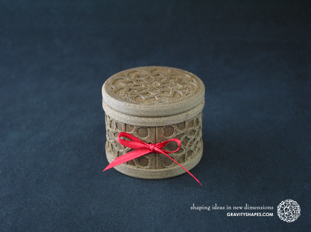 Gift Box round No. 1 with Mosaik-2 (solid, short) in White Natural Versatile Plastic