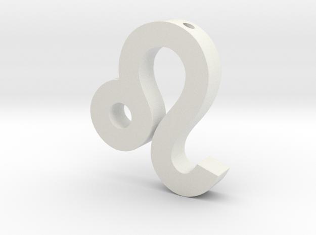 Leo Symbol Pendant in White Natural Versatile Plastic