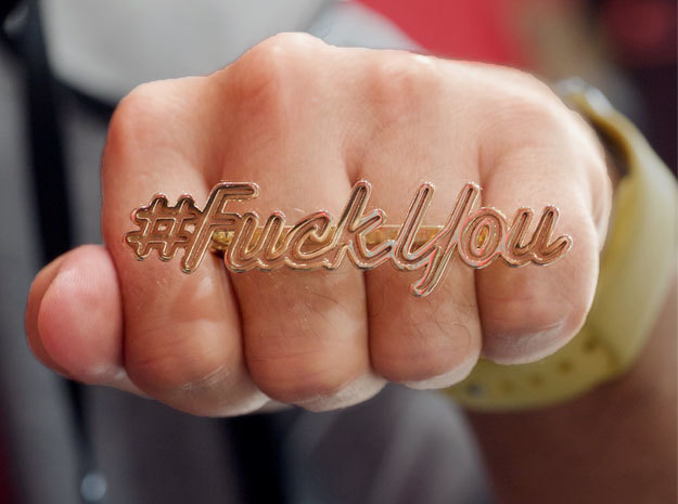 #FuckYou Statement Ring in Polished Brass: 9.5 / 60.25