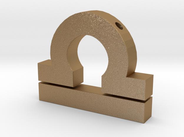 Libra Symbol Pendant in Matte Gold Steel