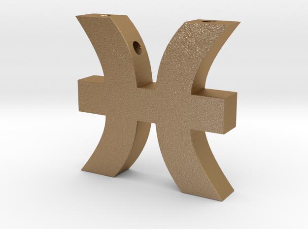 Pisces Symbol Pendant in Matte Gold Steel