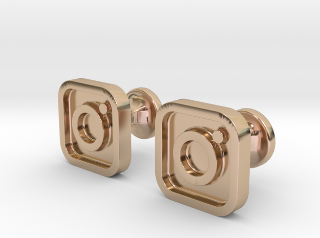Instagram cufflinks in 14k Rose Gold Plated Brass
