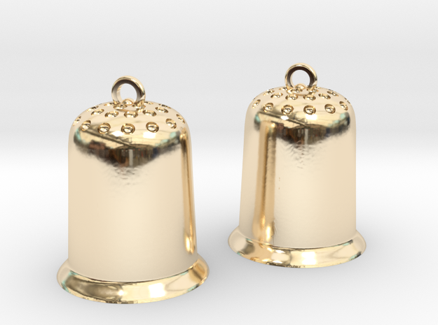 Thimbles earrings in 14k Gold Plated Brass