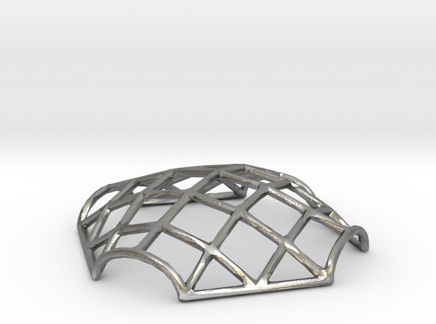 Gridshell Pendant in Raw Silver