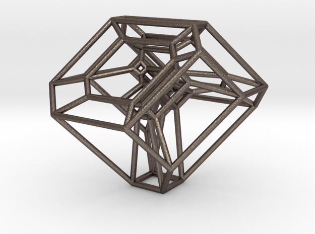 Cyclohedron (Schlegel Diagram) in Polished Bronzed Silver Steel