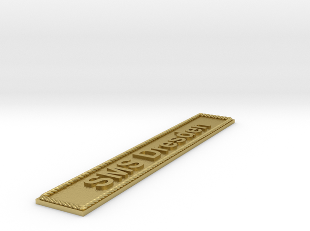 Nameplate: SMS Dresden in Natural Brass