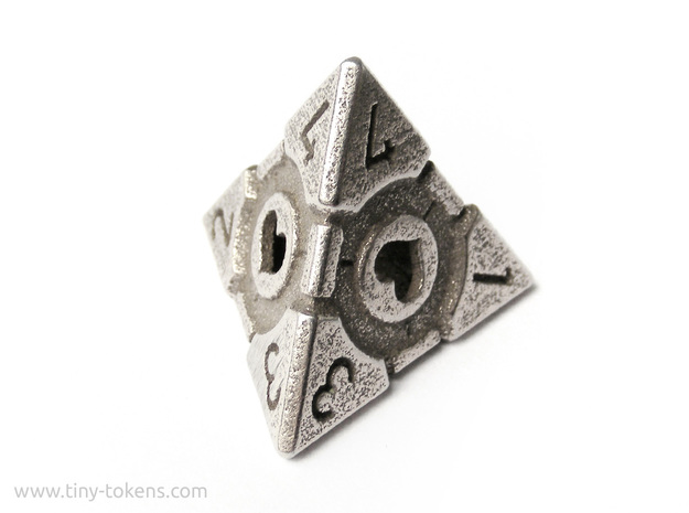 Companion Cube D4 - Portal Dice in Polished Bronzed Silver Steel: Small