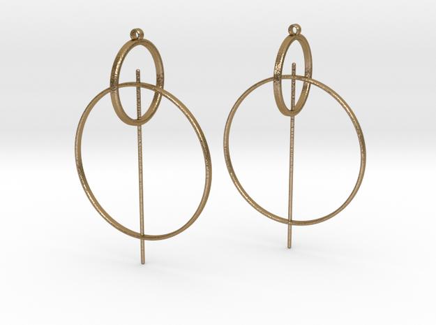 Modern Geometric Statement Earrings in Polished Gold Steel