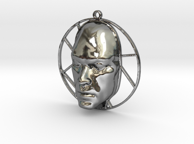 Personalised Voronoi Man's Face - Keyfob in Fine Detail Polished Silver
