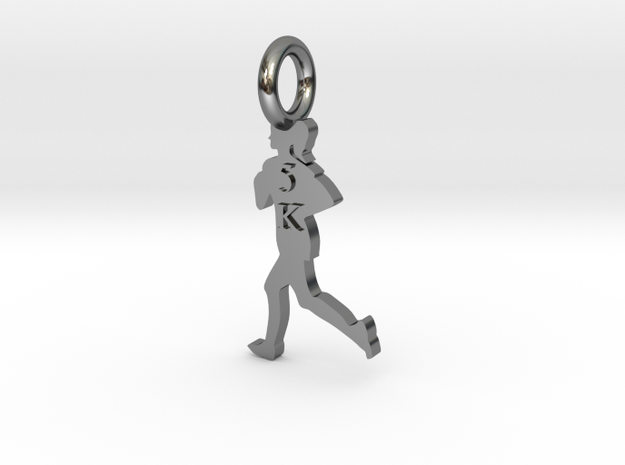 Female 5K Runner in Fine Detail Polished Silver