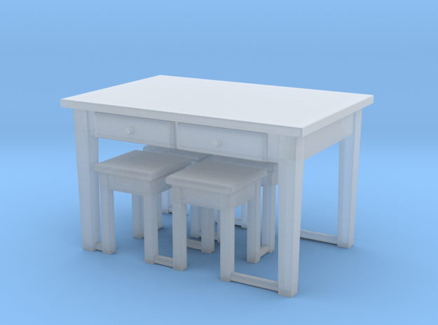 TT Kitchen Table & 4 Stools- 1:120 in Smooth Fine Detail Plastic
