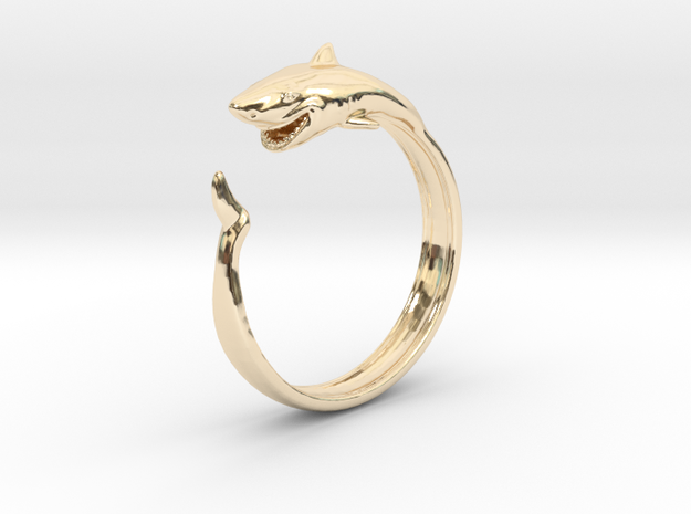 Shark Ring in 14k Gold Plated Brass