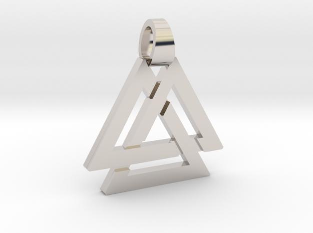 Triple triangle [pendant] in Rhodium Plated