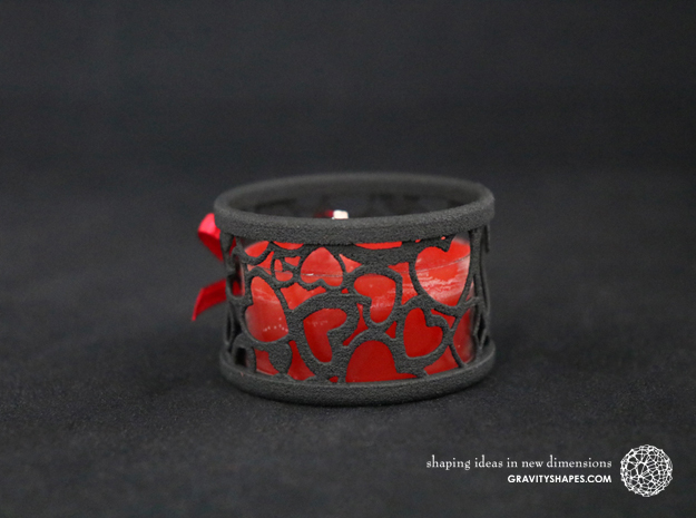 Set of 2 small tealight holders with Hearts