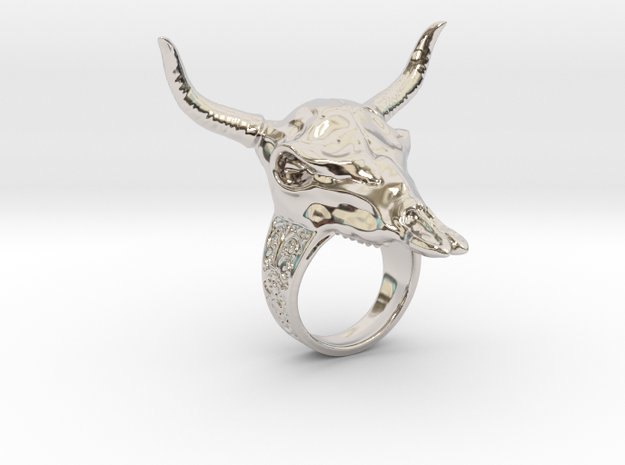 Skull Cow in Rhodium Plated Brass