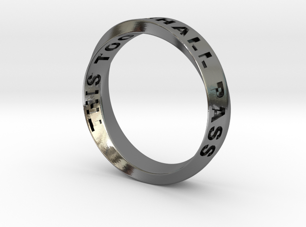 THIS TOO SHALL PASS MOBIUS RING LARGER SIZE 6mm in Polished Silver: 9.75 / 60.875
