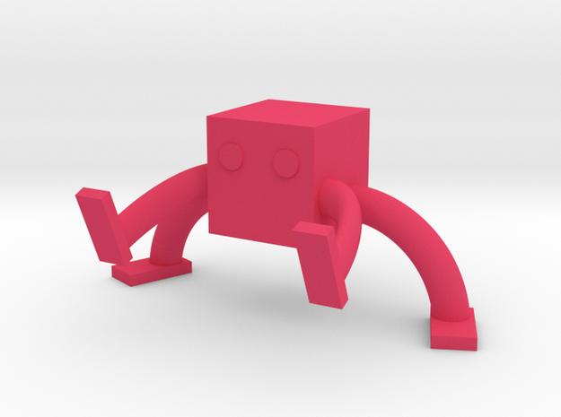 Square Man Card holder in Pink Processed Versatile Plastic