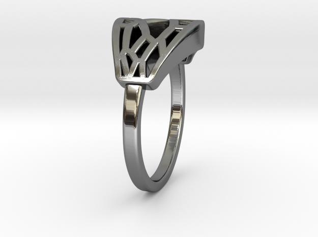 Voronoi Rectangular Inkscape Ring in Fine Detail Polished Silver