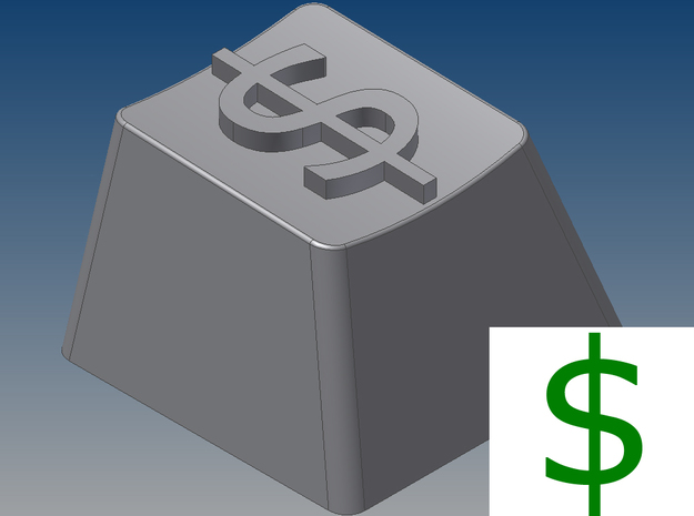 "Dollar Sign ""$"" Keycap (R4, 1x1) 3d printed"