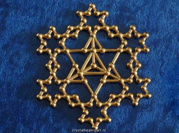 Merkaba Koch Fractal in Polished Gold Steel