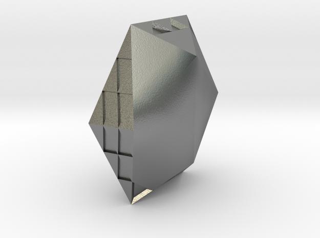 Zen Hexagonal jewel in Natural Silver: Large